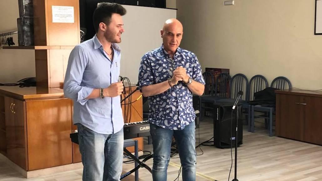 Marco Vito e Stefano Sani durante la lezione di canto alle Muse
