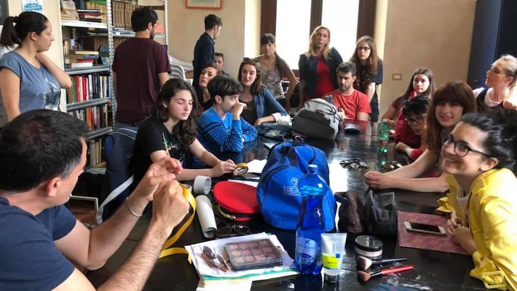 La classe di Recitazione di Marco Falaguasta prima delle riprese del corto
