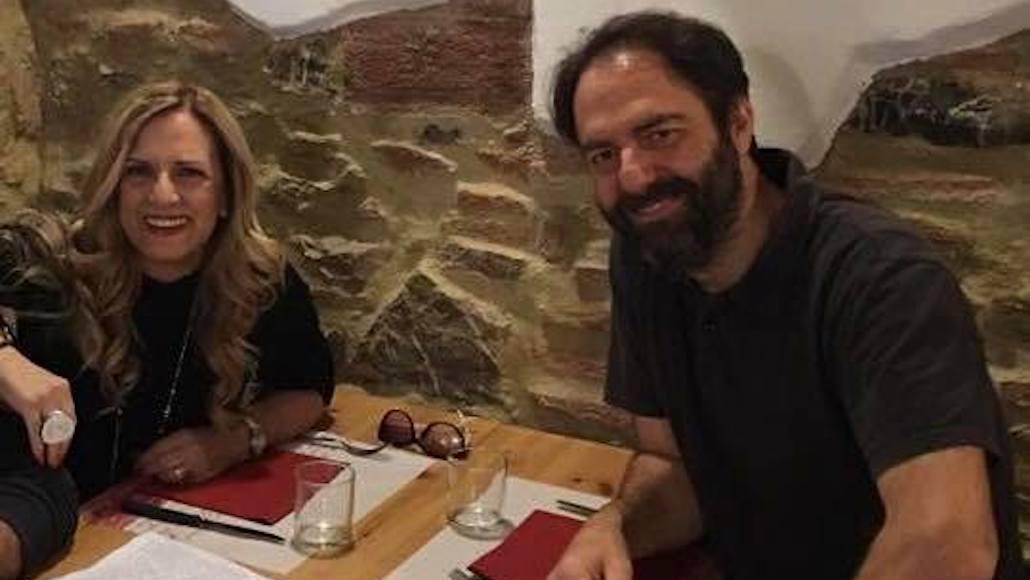 Al Ristorante Mamma Carla di Piombino. Due Amici Gianna e Neri Marcorè dopo una Masterclass a Le Muse