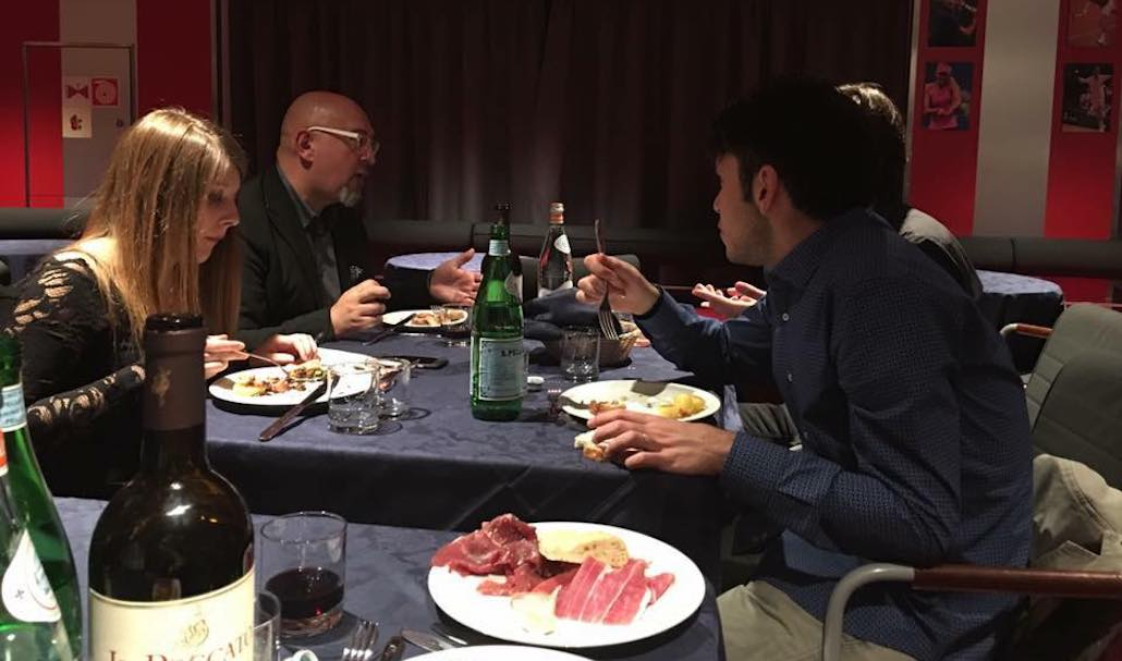 Sulla nave Toremar il ns. Fonico Luca Cardeti con Soili Mancini e Riccardo Malandrini