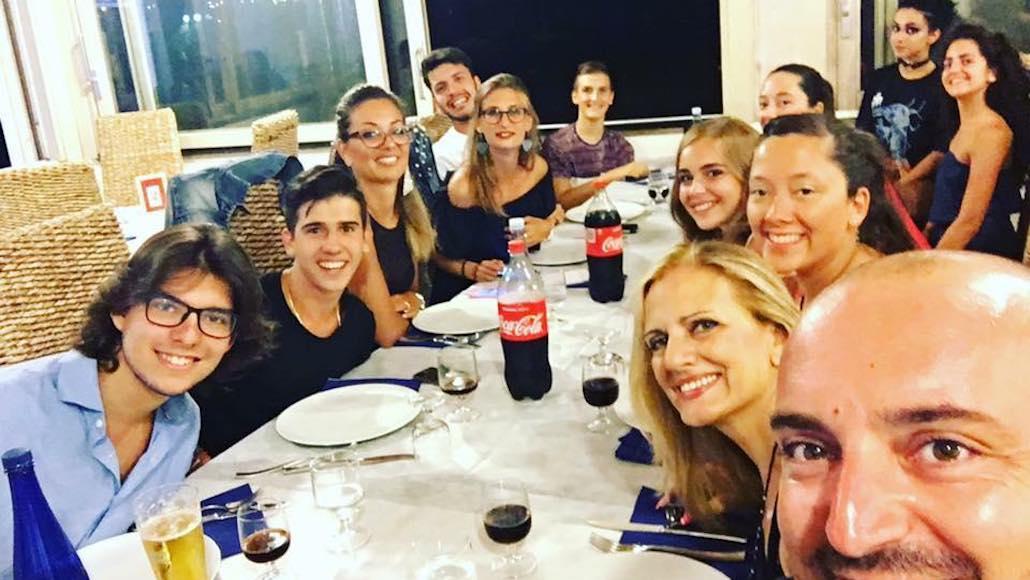 Al Ristorante Al solito posto una cena de Le Muse dopo una lezone di Acting on the set con il Docente Simone Terranova