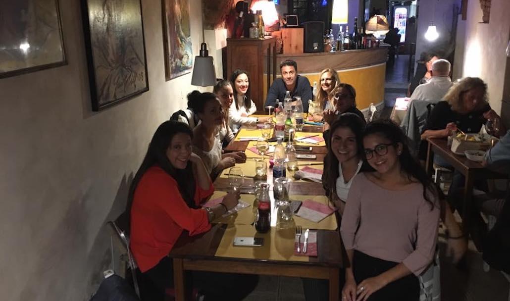 Al Ristorante Il Boccon di Vino di Piombino a cena dopo la lezione di Recitazione del corso di Marco Falaguasta