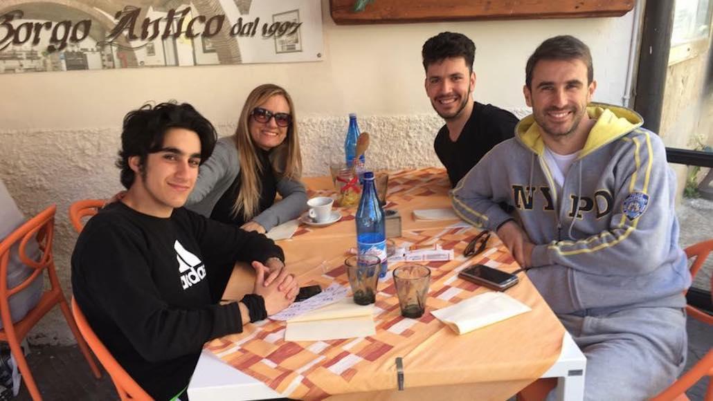 Al Ristorante Borgo Antico di Piombino Gianna con gli Allievi Tommaso Piroli, Marco Gistri e Riccardo Malandrini