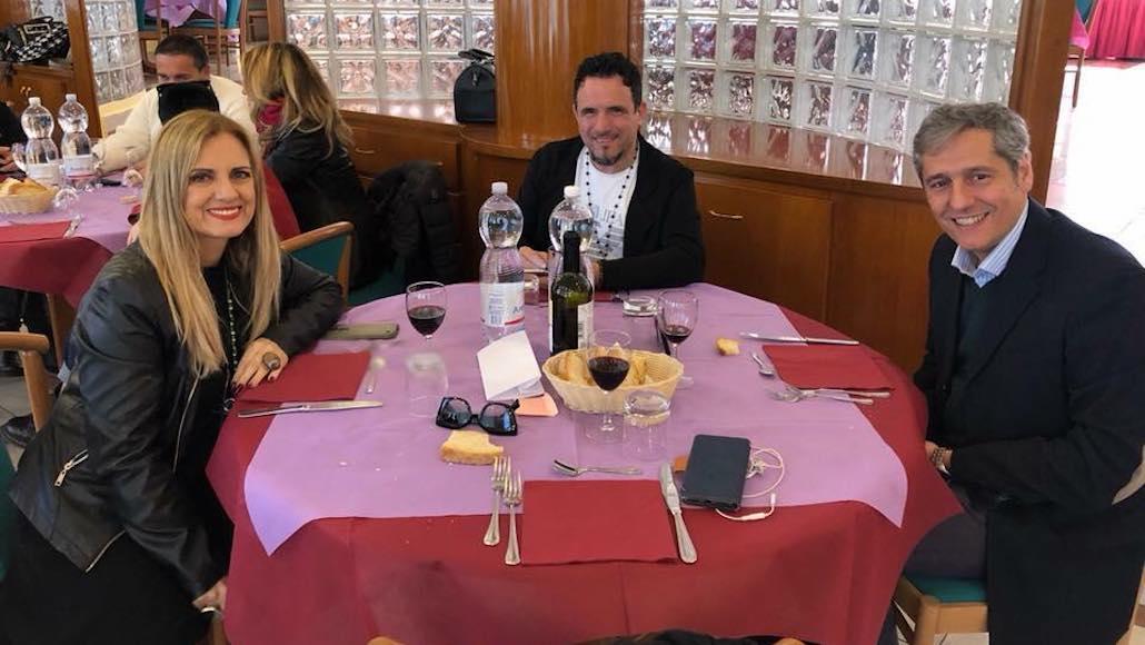 All'Hotel Phalesia Gianna con ilMaestro Enzo Campagnoli e Maurizio Caridi dopo una lezionne di Composizione musicale